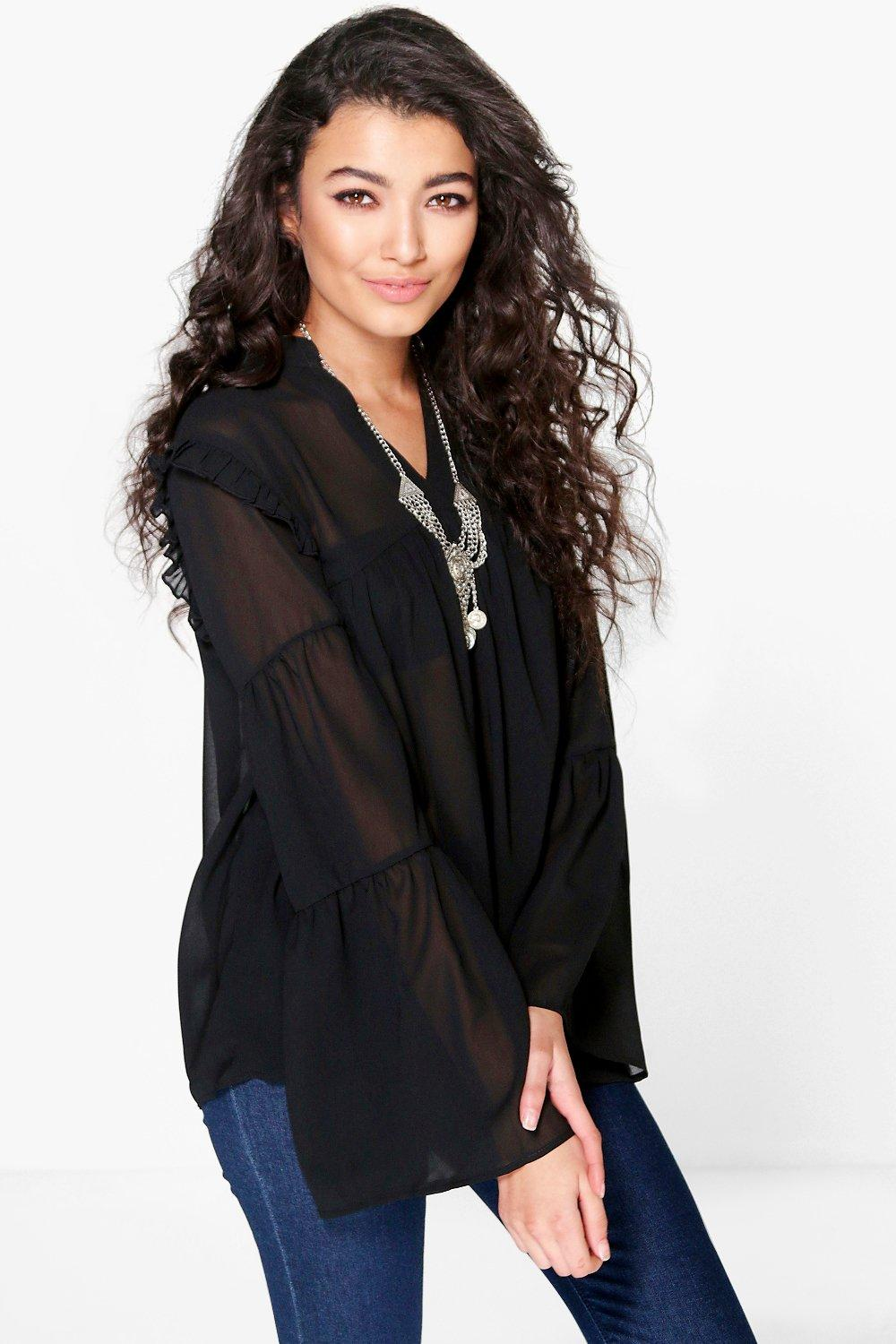 Faith Ruffle Sleeve Detail Sheer Blouse