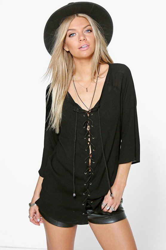 Emma Lace Up Crinkle Blouse