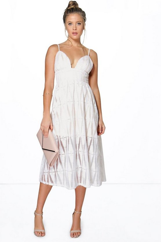 Sia Boutique Embroidered Organza Plunge Midi Dress