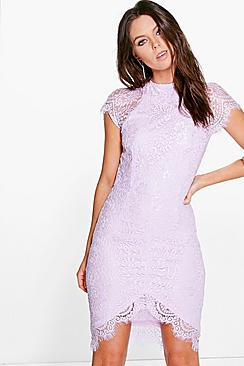 Boutique Leah Eyelash Lace Curved Hem Bodycon Dress
