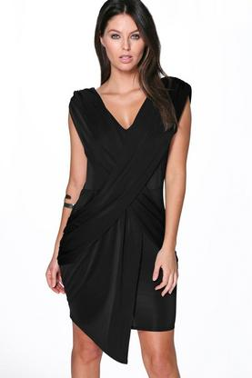 Lydia Drape Detail Textured Bodycon Dress