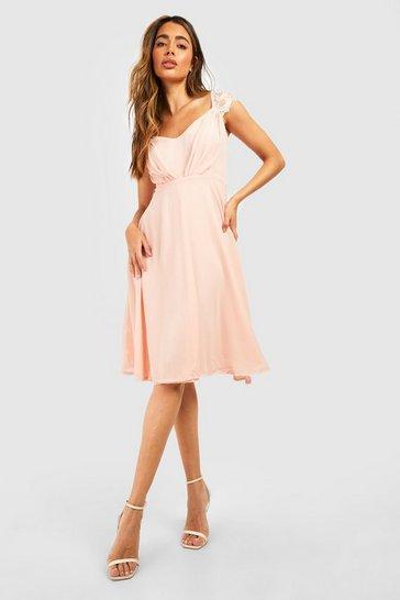 Blush Chiffon Lace Midi Skater Bridesmaid Dress