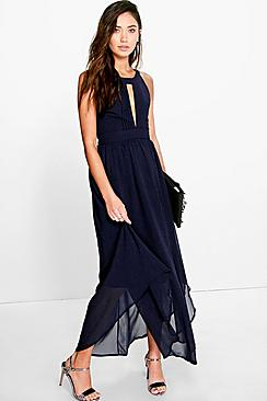 Marcie Pleat Detail Keyhole Chiffon Maxi Dress