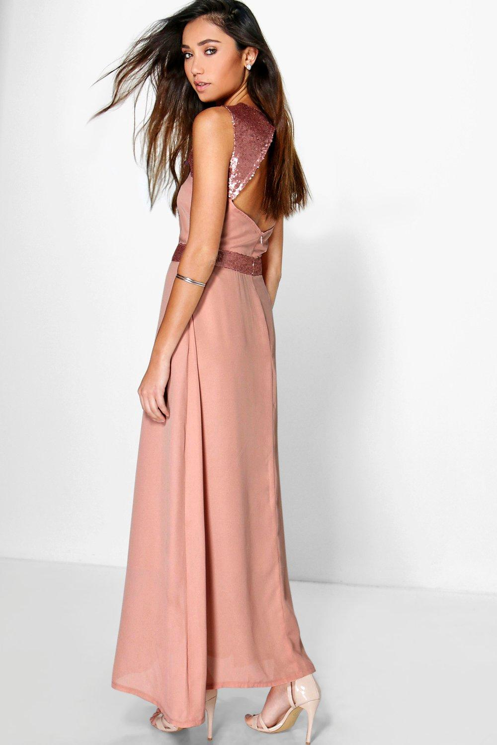 Lillianna Sequin Embellished Open Back Maxi Dress