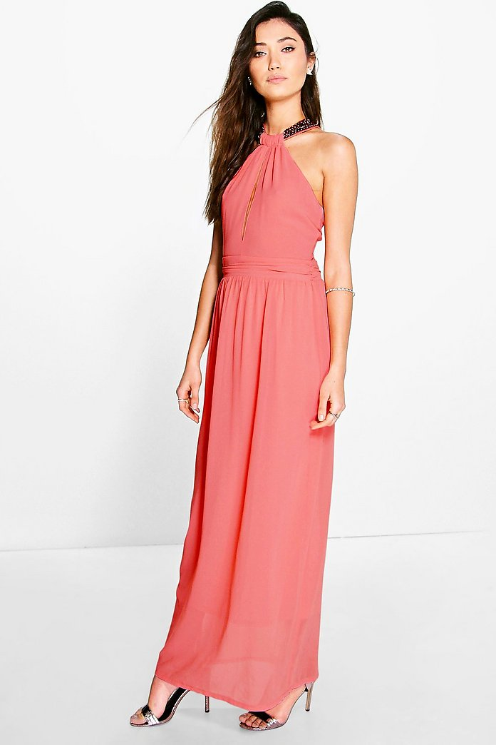 Elizabella Embellished Strap Chiffon Maxi Dress