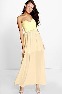 Corin Bandeau Embellished Waist Chiffon Maxi Dress