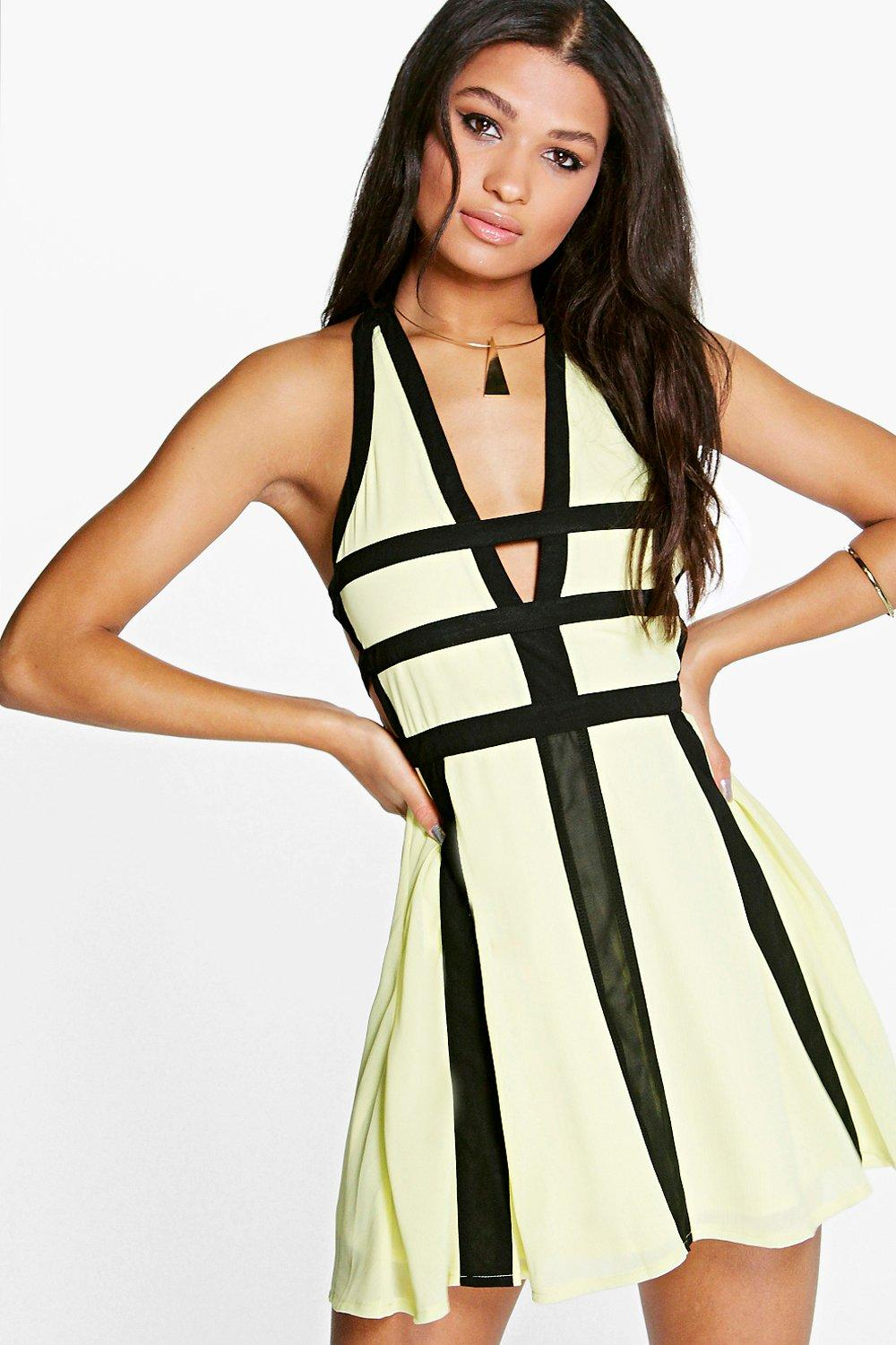 Vita Contrast Colour Cut Out Detail Skater Dress