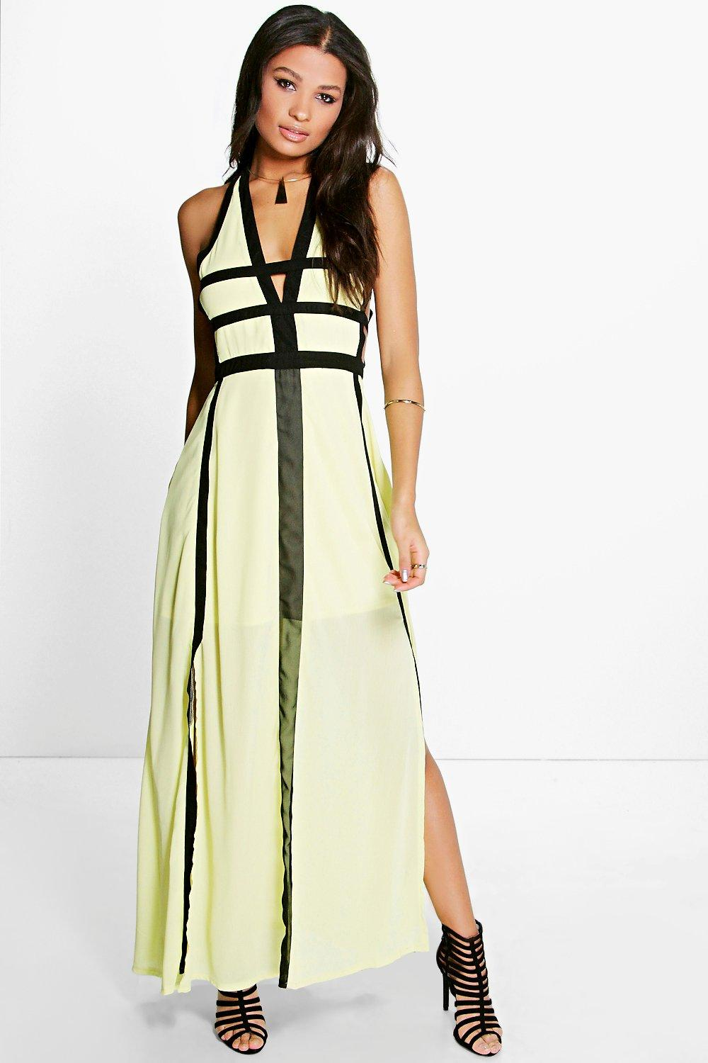 Trixie Contrast Panel Cut Out Detail Maxi Dress