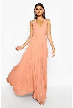 Sidra Chiffon Pleated Plunge Maxi Dress