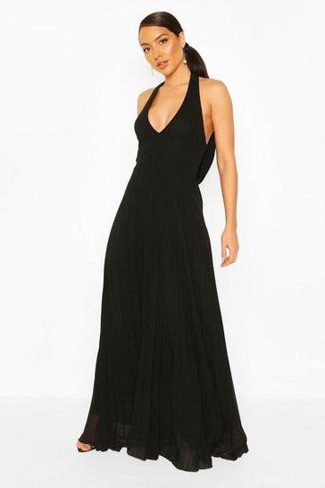 Black Chiffon Pleated Plunge Maxi Bridesmaid Dress