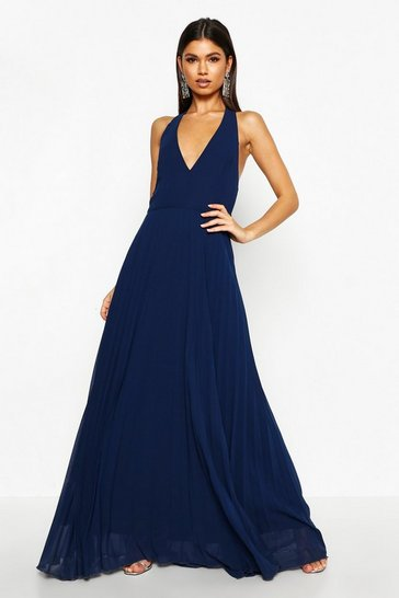 Navy Chiffon Pleated Plunge Maxi Bridesmaid Dress