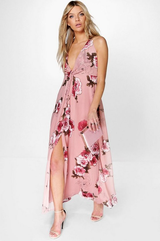 Amabel Floral Chiffon Knot Front Maxi Dress
