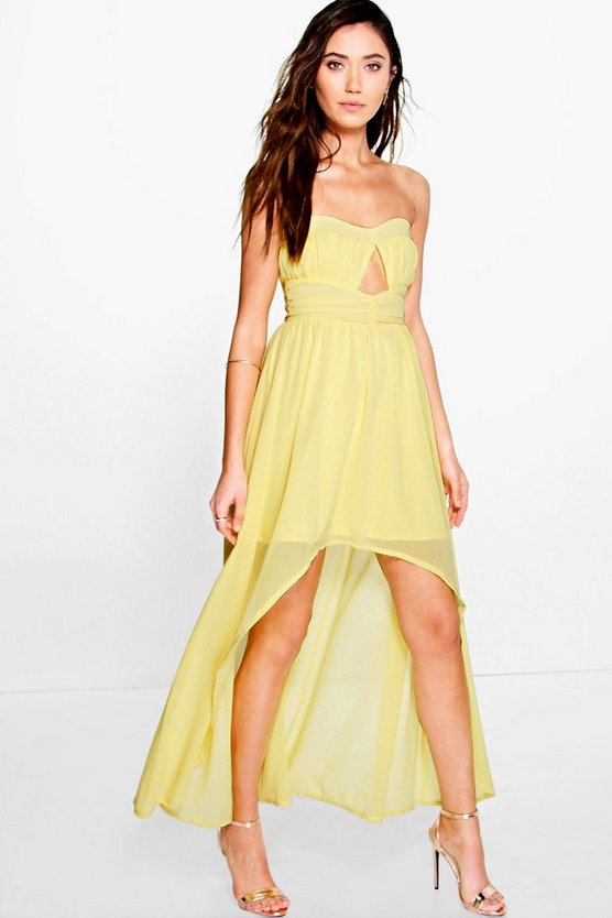 Bella Chiffon Pleat Detail Bandeau Dip Hem Dress