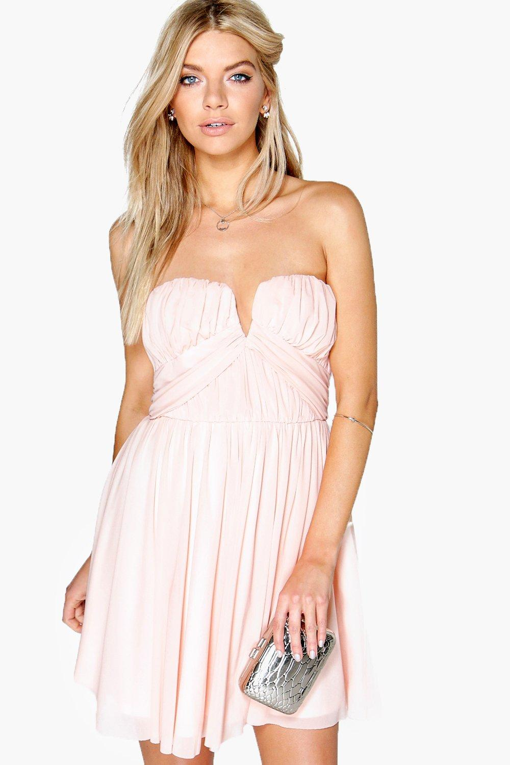 Becky Mesh Rouched Plunge Prom Dress - blush