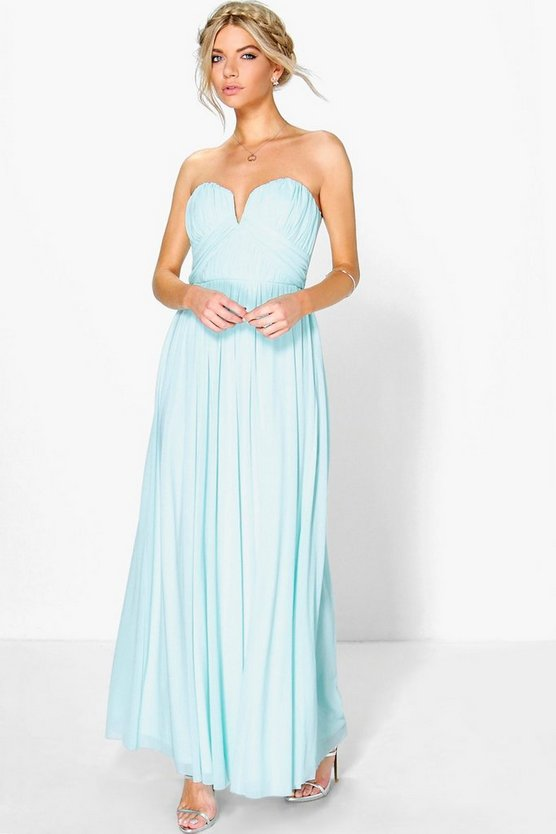 Boutique Mesh Rouched Plunge Maxi Dress