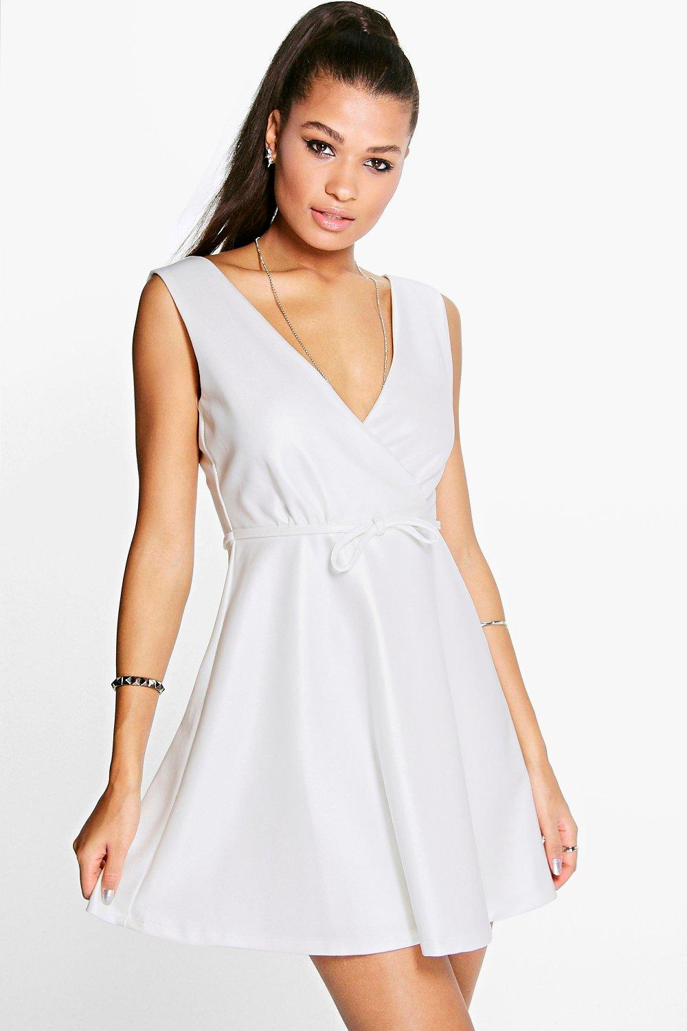 Boutique Tanya Shimmer Textured Skater Dress