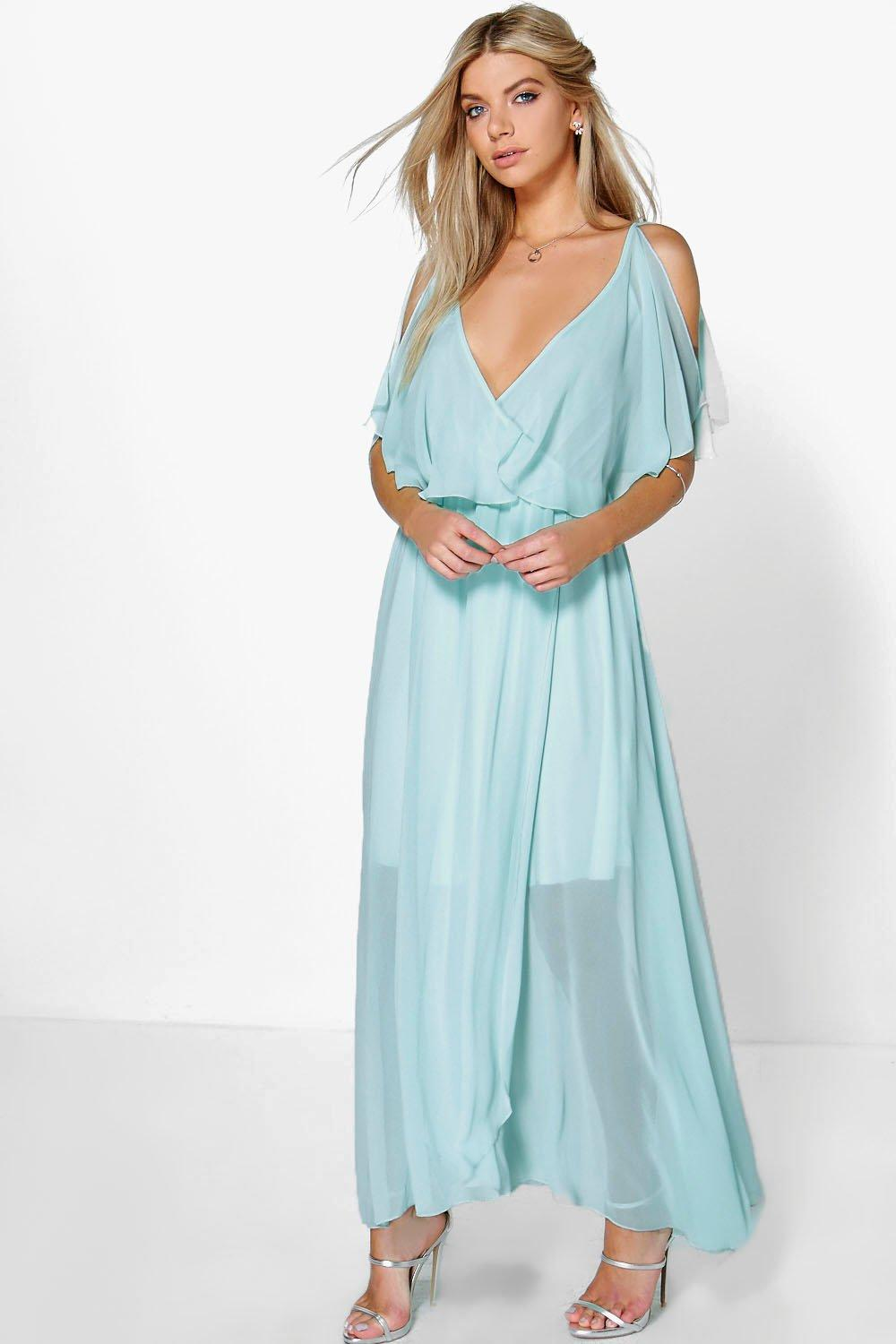 Claudia Chiffon Double Layer Wrap Maxi Dress | Boohoo