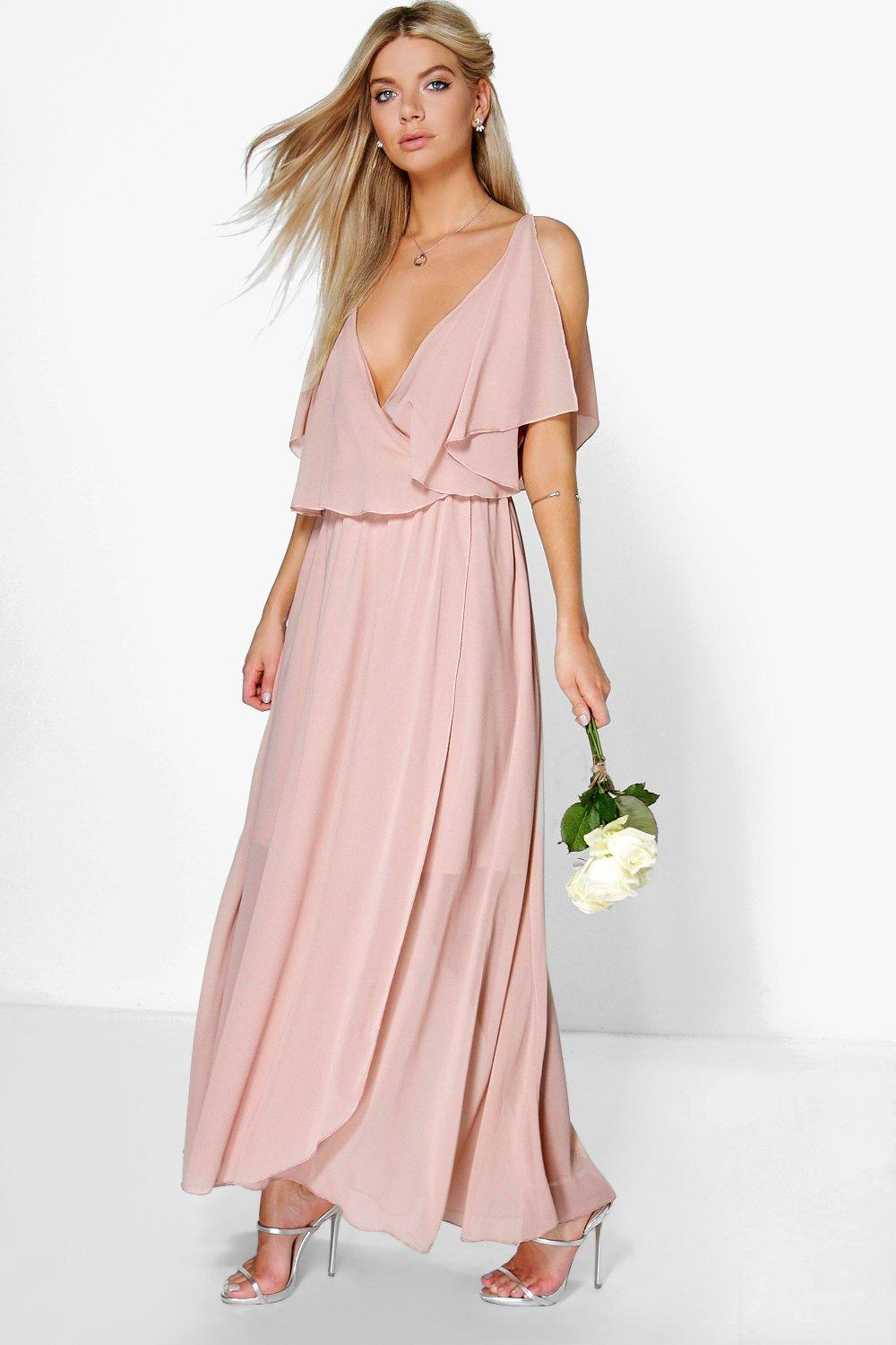 Claudia Chiffon Double Layer Wrap Maxi Dress