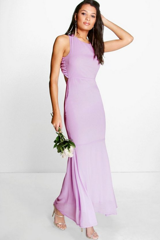 Chiffon Open Back Fish Tail Maxi Dress