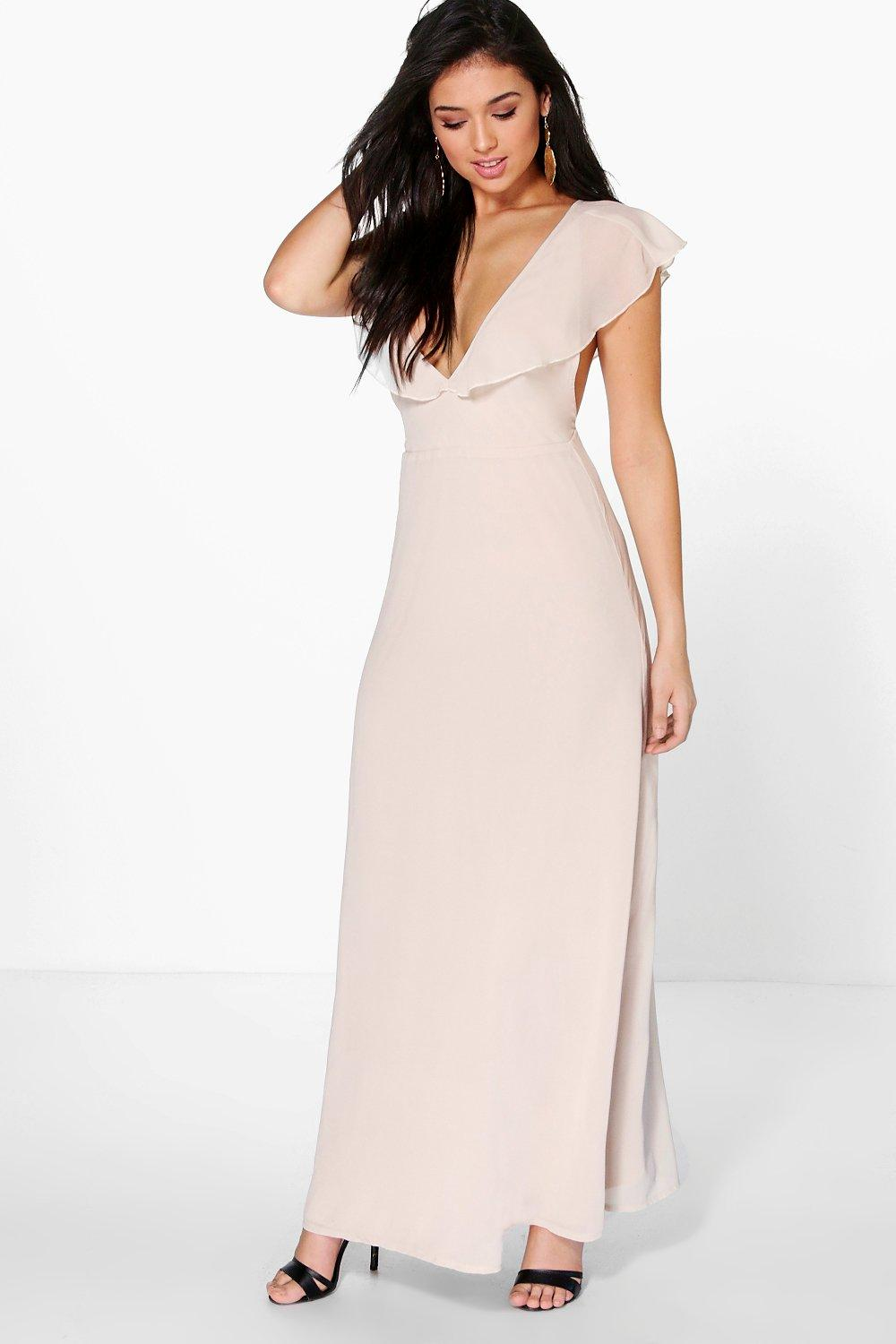 Hayley Chiffon Frill Angel Sleeve Maxi Dress