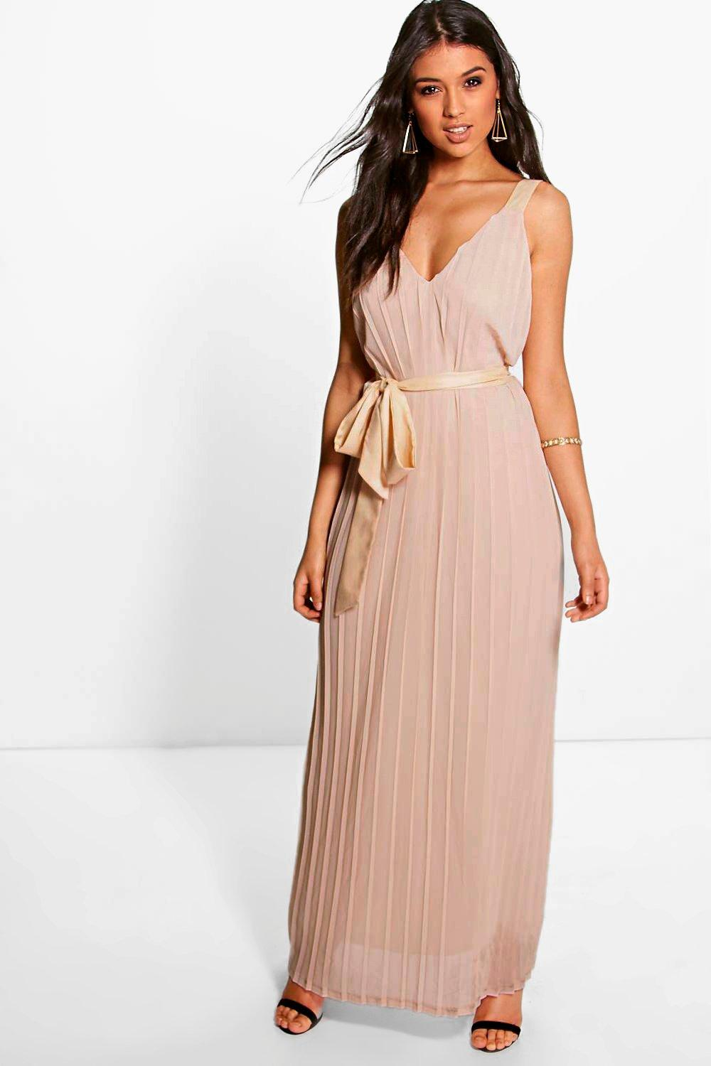 Hanna Chiffon Pleated Plunge Neck Maxi Dress