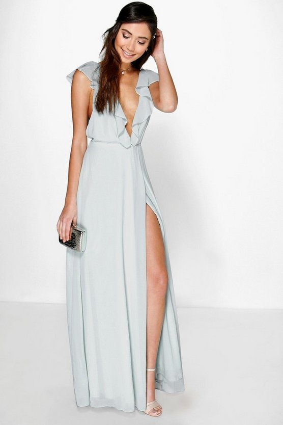 Daisy Frill Wrap Detail Chiffon Maxi Dress