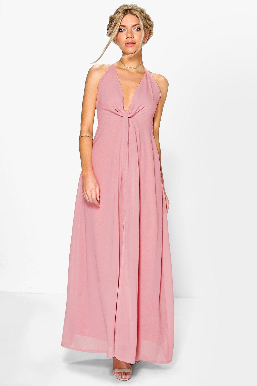 Leah Knot Plunge Neck Chiffon Maxi Dress