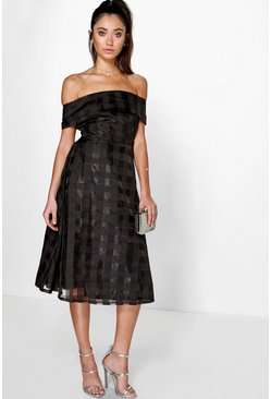 Ella Off Shoulder Check Organza Skater Dress