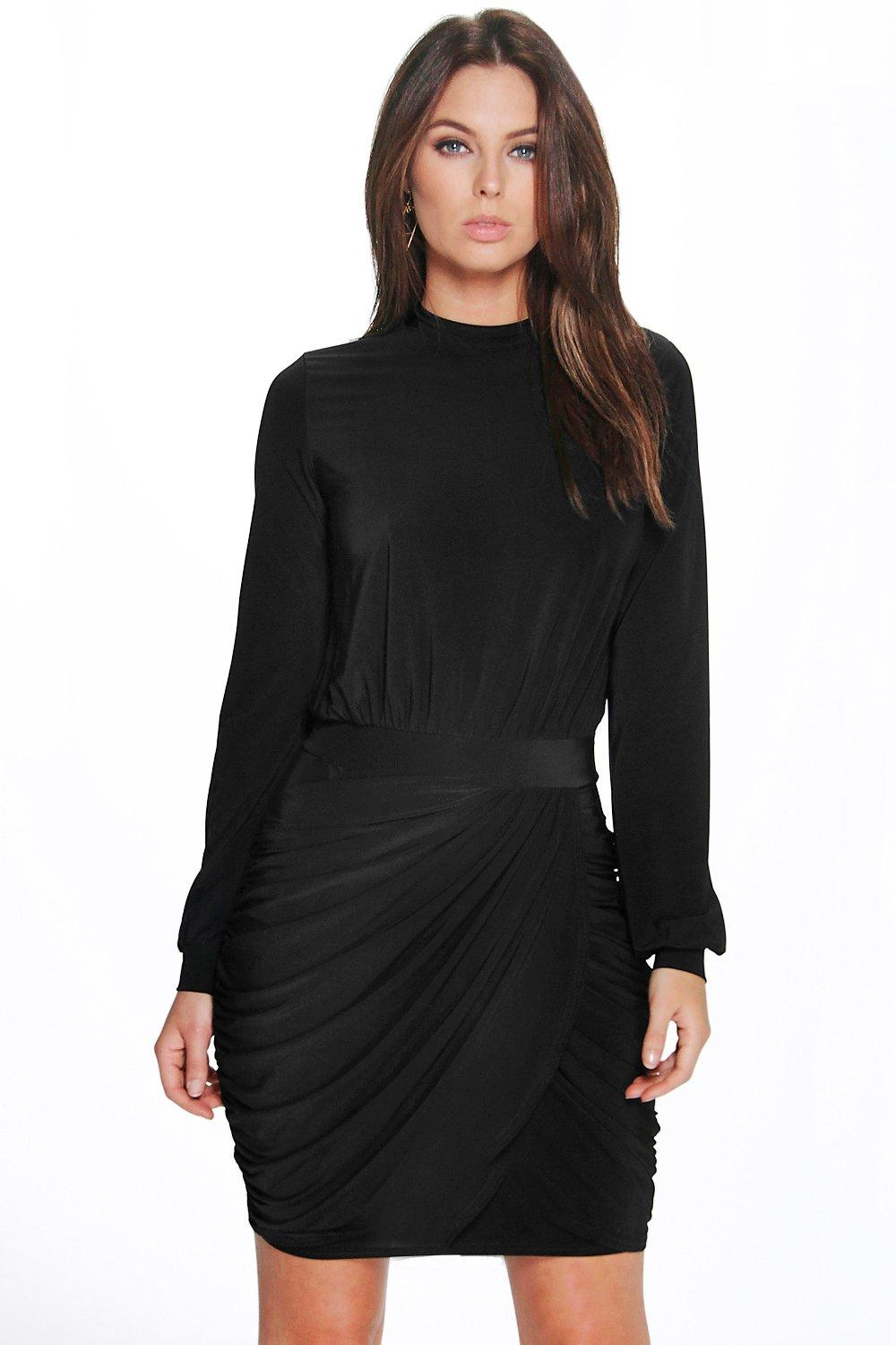 Sarah High Neck Ruched Skirt Slinky Bodycon Dress