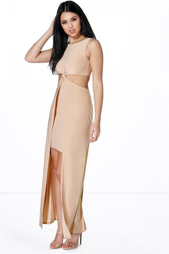 Anna Slinky Twist Cut Out Detail Maxi Dress