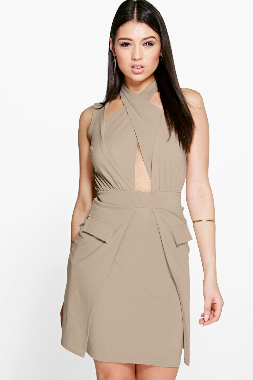 Debbie Cross Front Pocket Detail Bodycon Dress