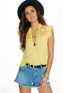 Lacey Ruffle Neck Lace Yoke Blouse