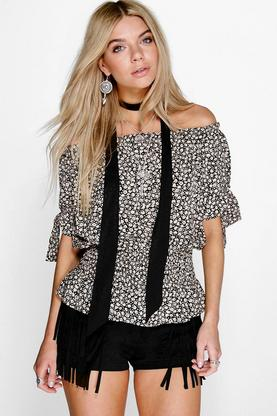 Paige Tie Sleeve Printed Off The Shoulder Top