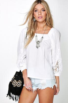 Bella Embroidered Sleeve Smock Blouse