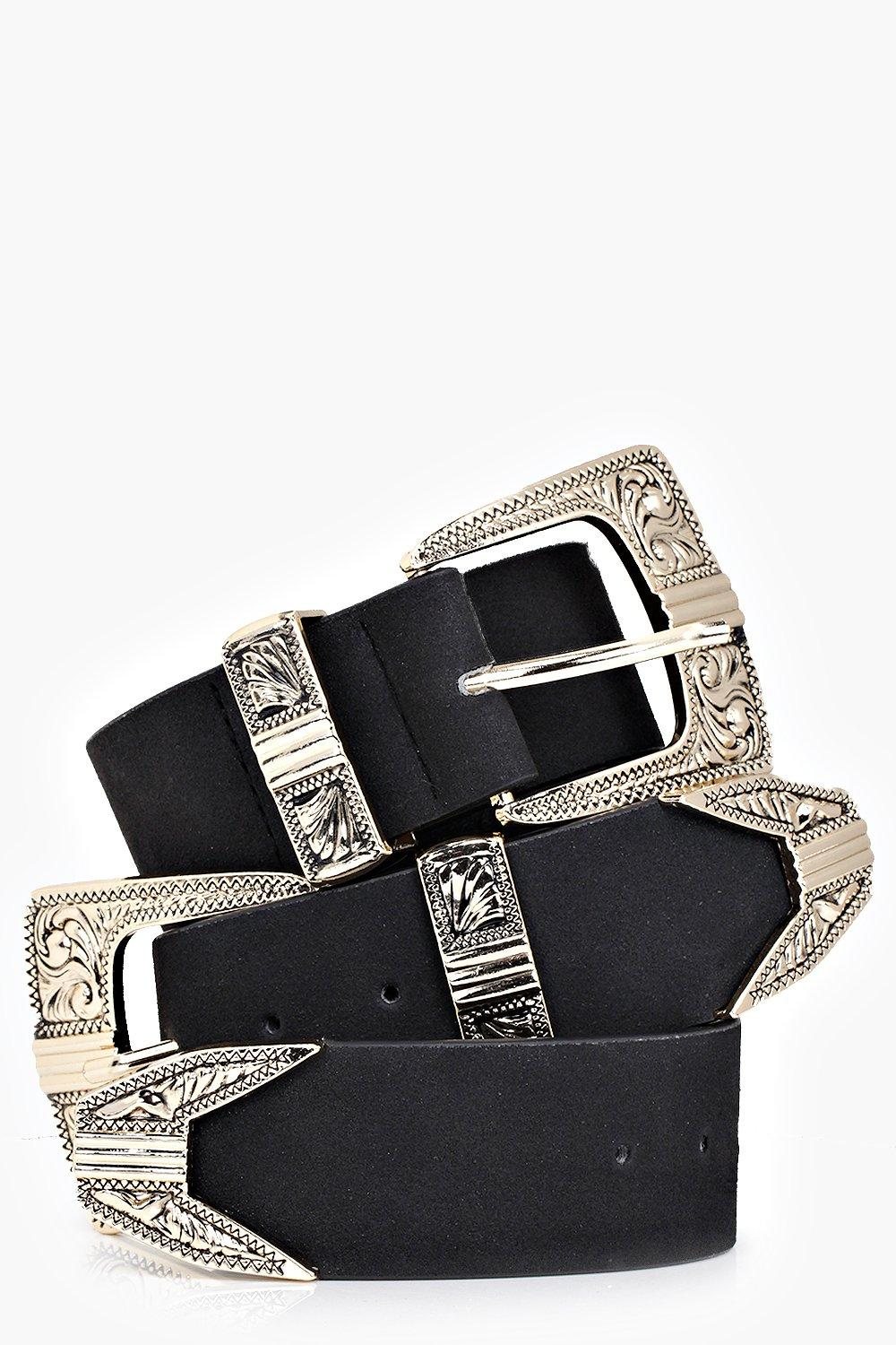 Suedette Double Buckle Western Belt - black - Cust