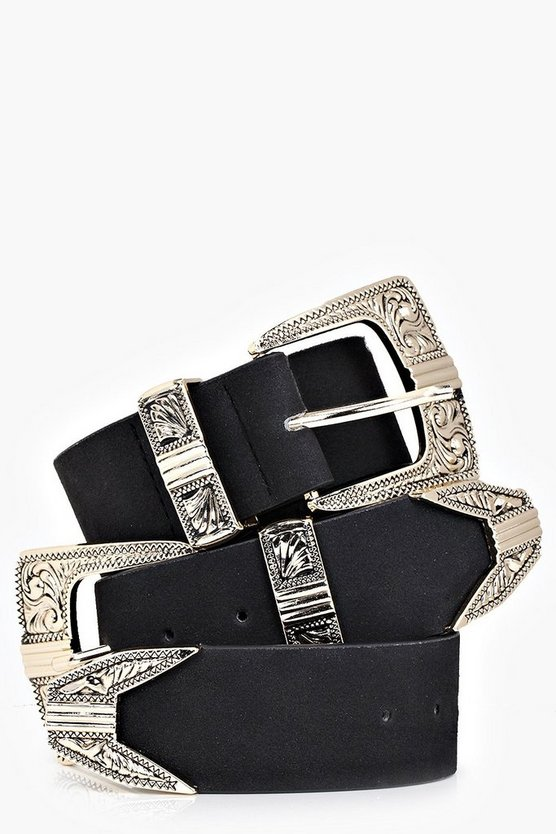 Suedette Double Buckle Western Belt