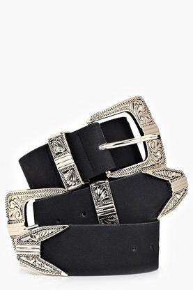 Grace Suedette Double Buckle Western Belt