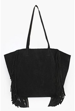 Jessica Winged Fringed Suedette Shopper Bag