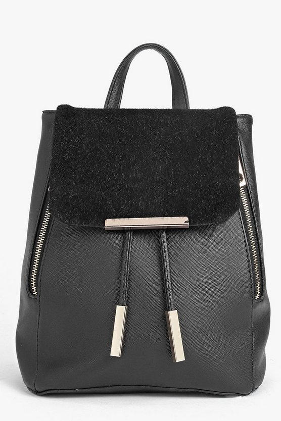 Ava Zip Detail Faux Pony Mix Rucksack
