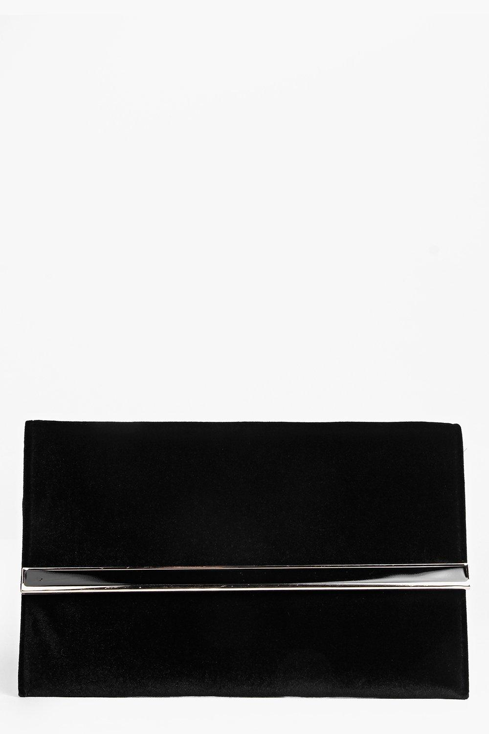 Suedette Metal Bar Clutch Bag black