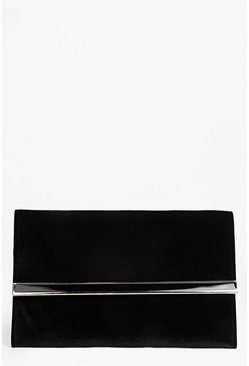 Lola Suedette Metal Bar Clutch Bag