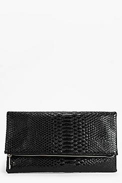 Anna Snake Effect Fold Over Clutch Bag