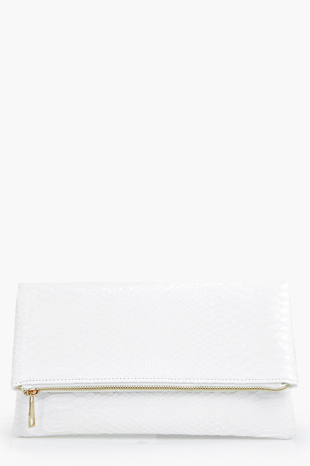 Snake Effect Fold Over Clutch Bag white