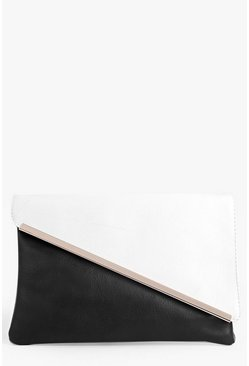 Paige Monochrome Metal Plate Clutch Bag