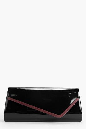 Rose Patent Metal Detail Clutch Bag