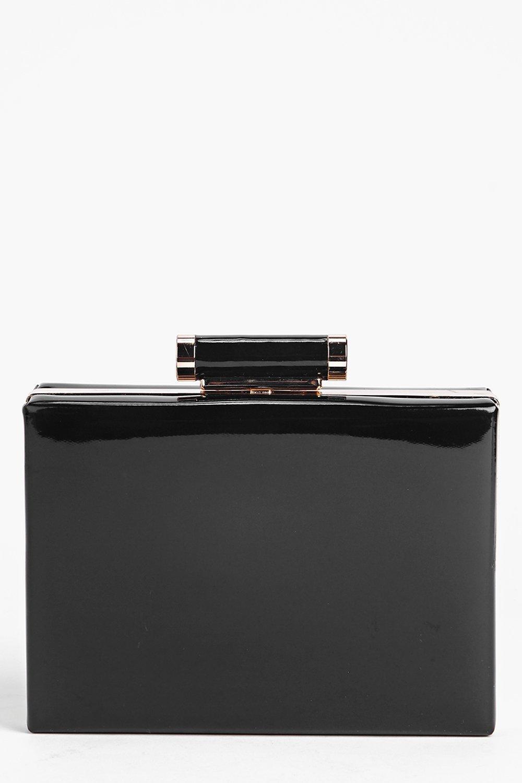 Orla Patent Box Clutch Bag