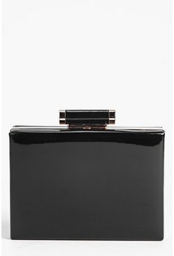 Orla Patent Box Clutch Bag