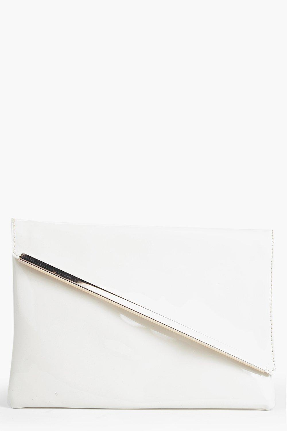 Ivy Patent Fold Over Metal Detail Clutch Bag
