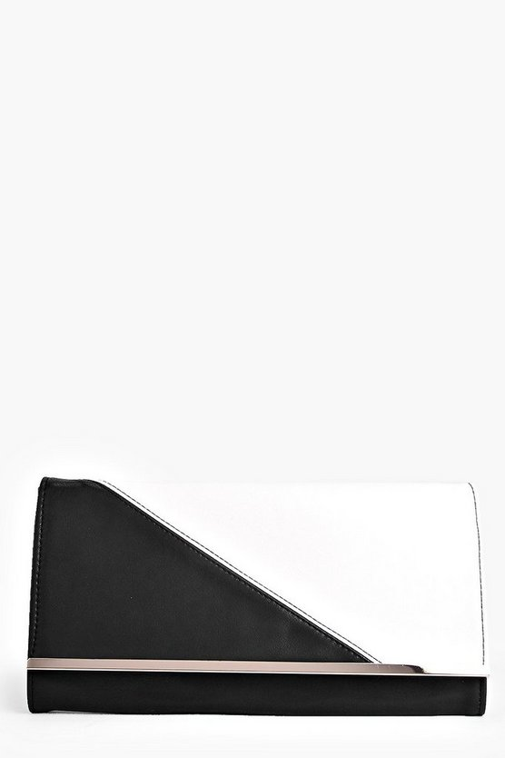 Kara Monochrome Metal Detail Clutch Bag