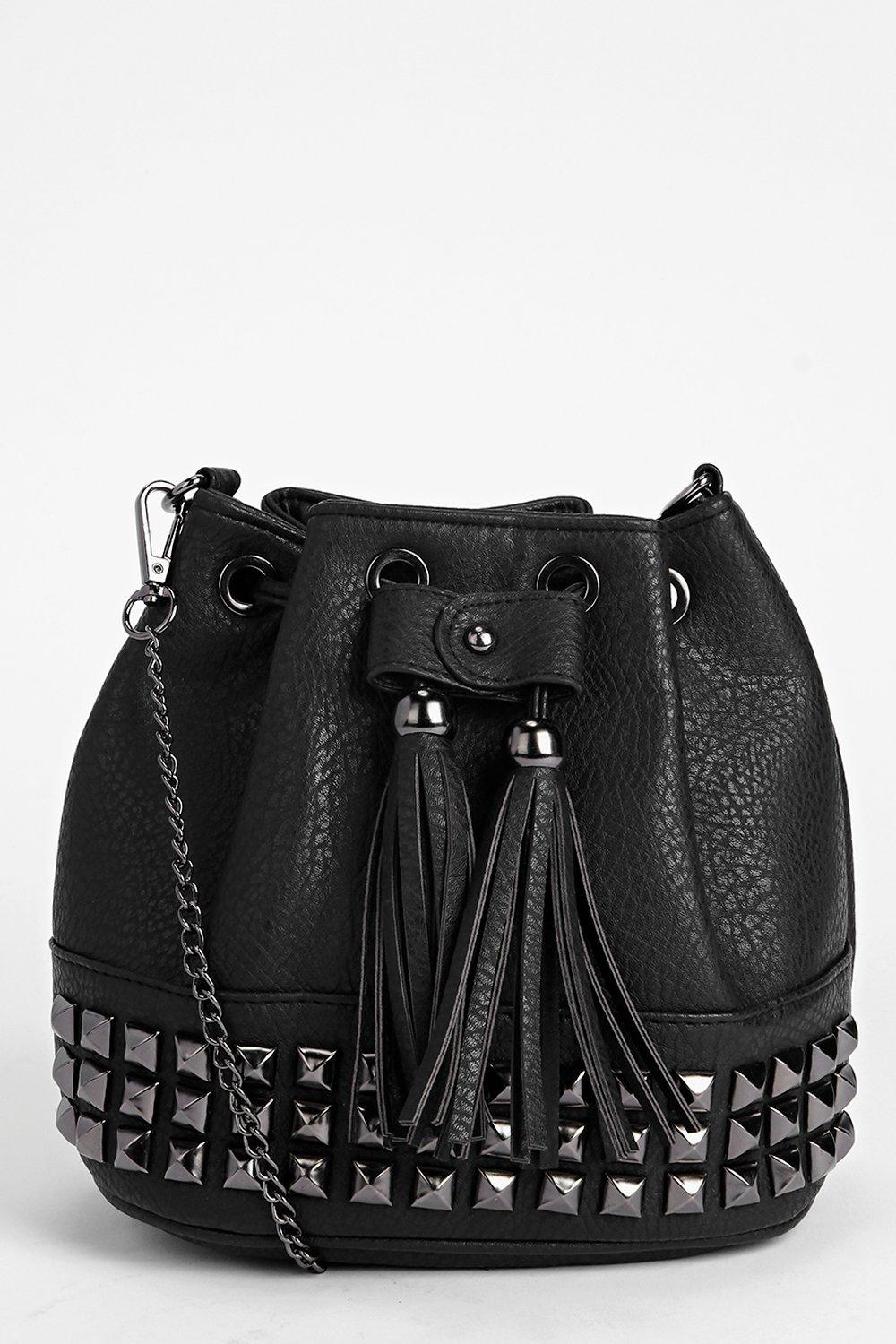 Studded Tassel Duffle Cross Body Bag - black - A b